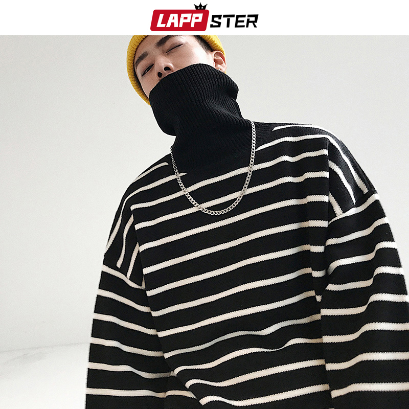 LAPPSTER Turtleneck Men Striped Sweater 2019 Winter Harajuku Japanese Streetwear Sweater Male Korean Hip Hop Oversize Clothing
