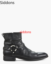Men Boots Pointed Toe Med Heels Pu Leather  Shoes Bota Coturnos Masculino Botas Hombre Blancas Big Size 38-47 Men Boots D87