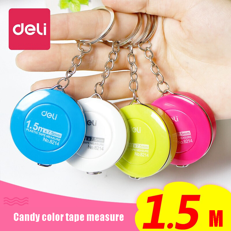 Deli Mini Leather Soft Ruler Portable Candy Color Tape Measure 1.5m Imperial Inch Ruler Stationery School Supplies Random Color