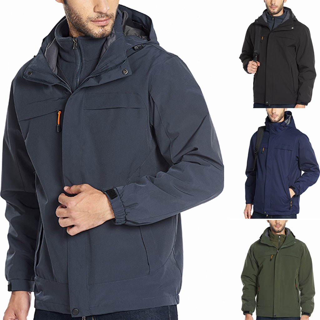 loose Solid waterproof thick Windbreaker windproof warm brand jacket classic   Trench   men's Long Sleeve Quality coats hooded