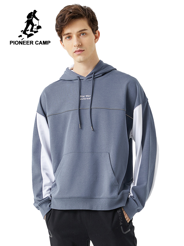 Pioneer Camp 2020 Spring Hoodies Men Streetwear Gray White Hit Color Cotton Causal Hooded Sweatshirts Mens ALY0105076Hoodies & Sweatshirts   -