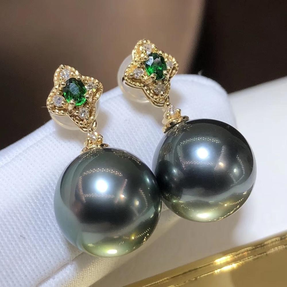 D410 Pearl Earrings Fien Jewelry Solid 18K Gold Diamond Natural 9-10mm Ocean Sea Water Round Tahiti Pearls Earrings for Women