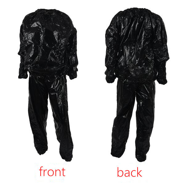 Heavy Duty Fitness Weight Loss Sweat Sauna Suit Exercise  Anti-Rip Black