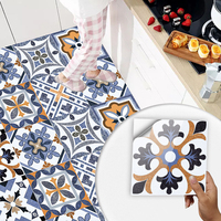 10 Uds estilo europeo mate superficie, pegatina para pared película para azulejos/tierra en la cocina Backsplash soladura artística Wallpaper Peel & Stick