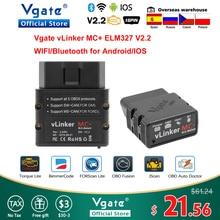Vgate VLinker MC + ELM 327 Bluetooth 4.0สแกนเนอร์OBD2การวินิจฉัยอัตโนมัติWifiสำหรับAndroid/IOS ELM327 OBD 2 ODB2 Bimmercode
