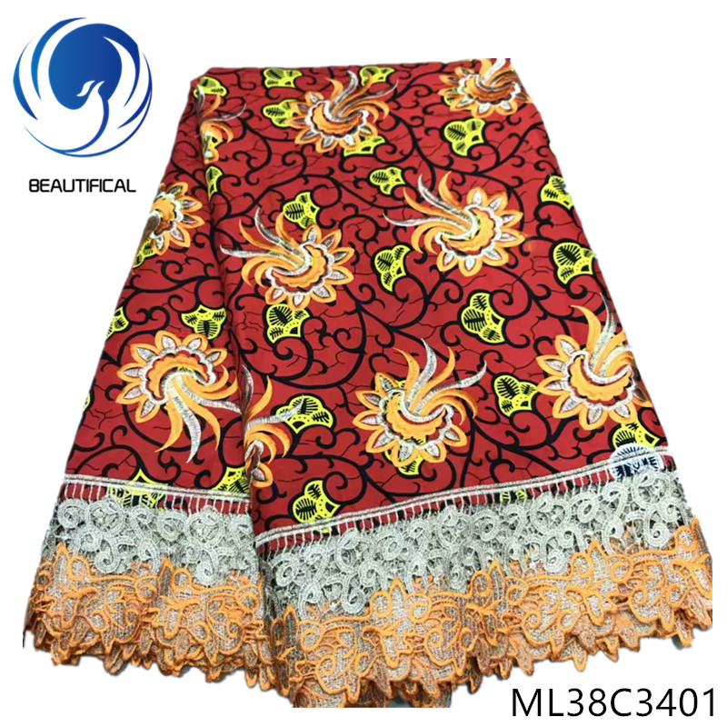 BEAUTIFICAL Cotton african wax fabrics Prints flowers wax mix cord lace for dress 6yards Top sale nigerian lace wax ML38C34