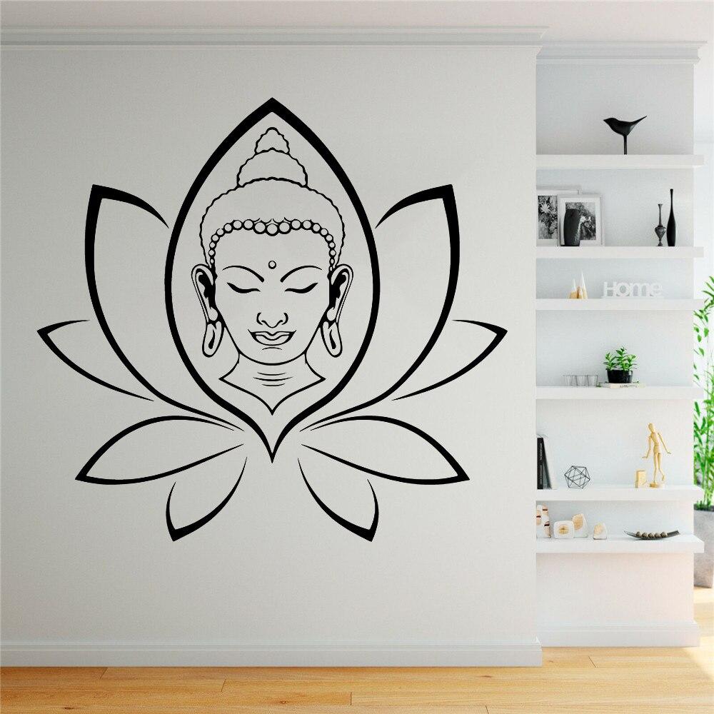 Autocollants bouddha religion autocollant Mural pour salon décalcomanie décor Mural chambre mur Art Stickers stickers muraux vinyle ph183