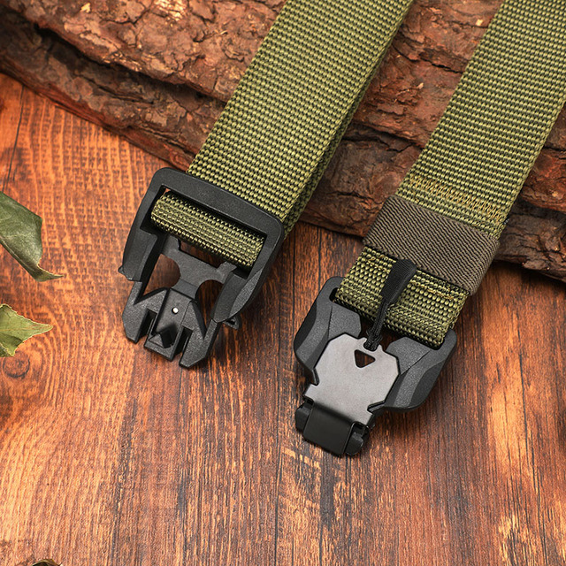 FRALU NEW Military Equipment Combat Tactical Belt for Men US Army Training Nylon Magnetic Buckle Waist Belt Outdoor Hunting belt 4