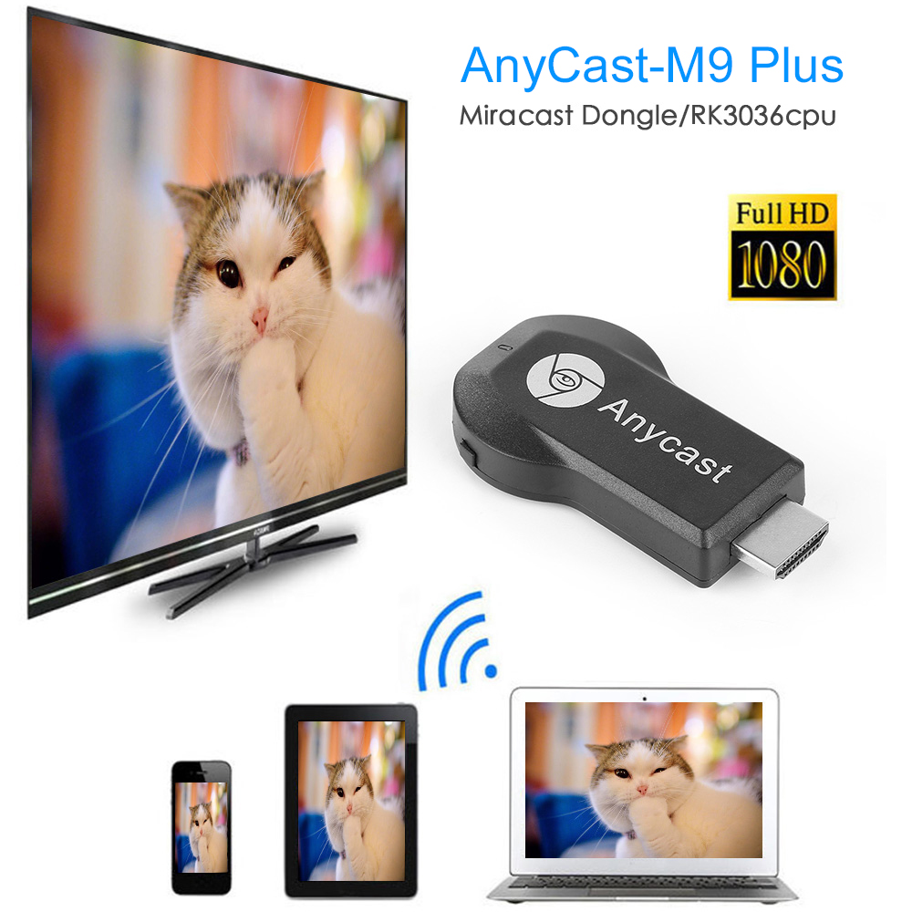 Anycast M9 Plus TV Stick Wireless WiFi Display Dongle Receiver For Google HDMI 128MB 1080P Adapter For IOS Airplay Mirroring