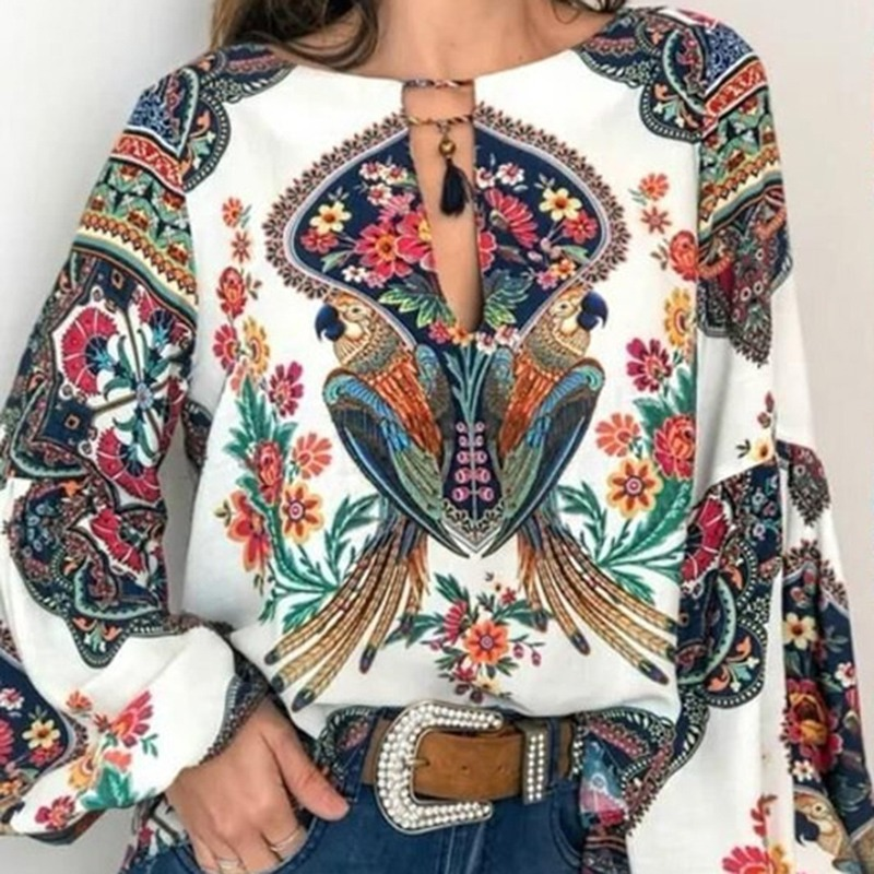 Laamei Boho Blouse Sleeve-Shirt Lantern Spring Women Tops Tassel Lace-Up Floral-Print