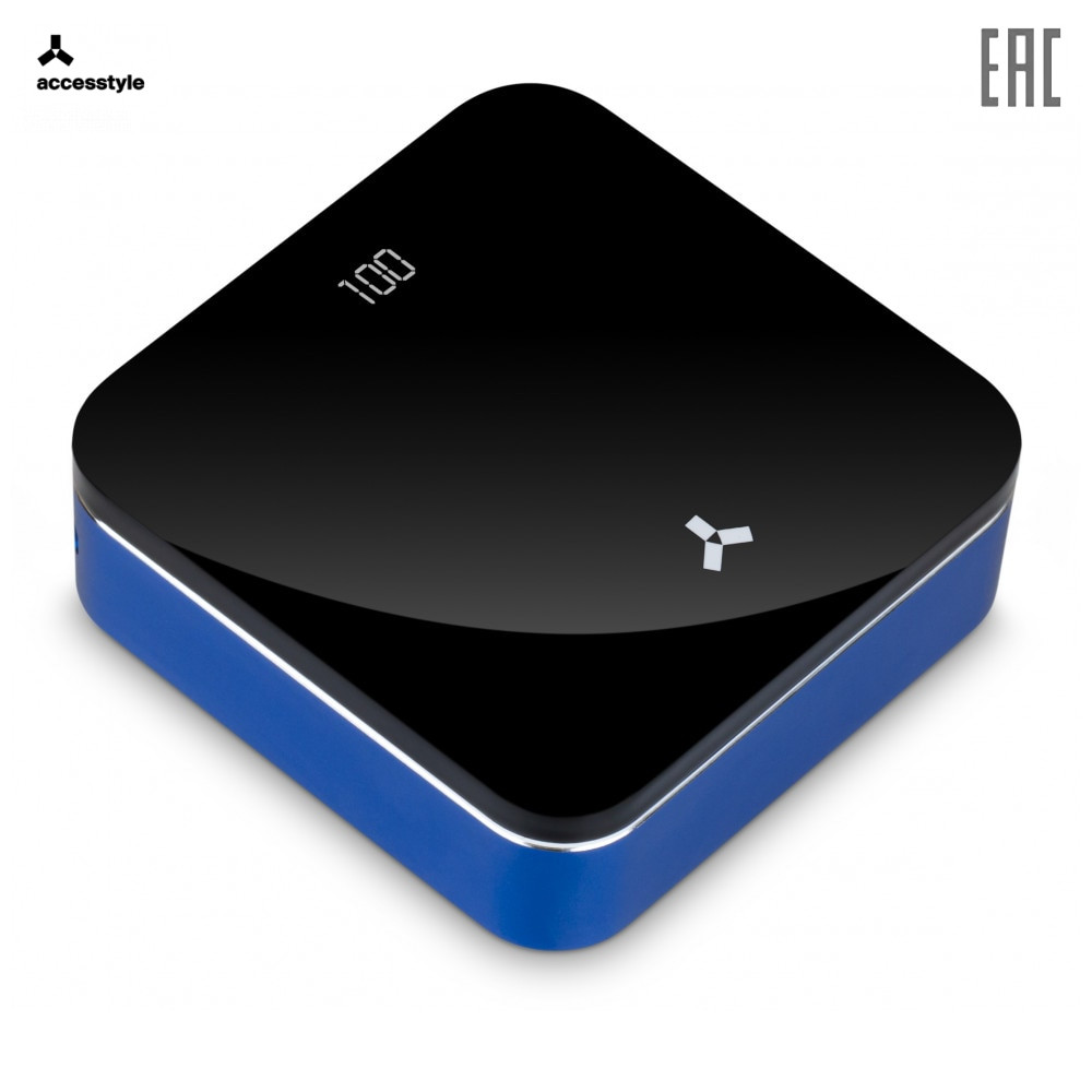Внешний аккумулятор Accesstyle Violet 10MP , 10000 мА·ч, 2 подкл. устройства, синий/черный