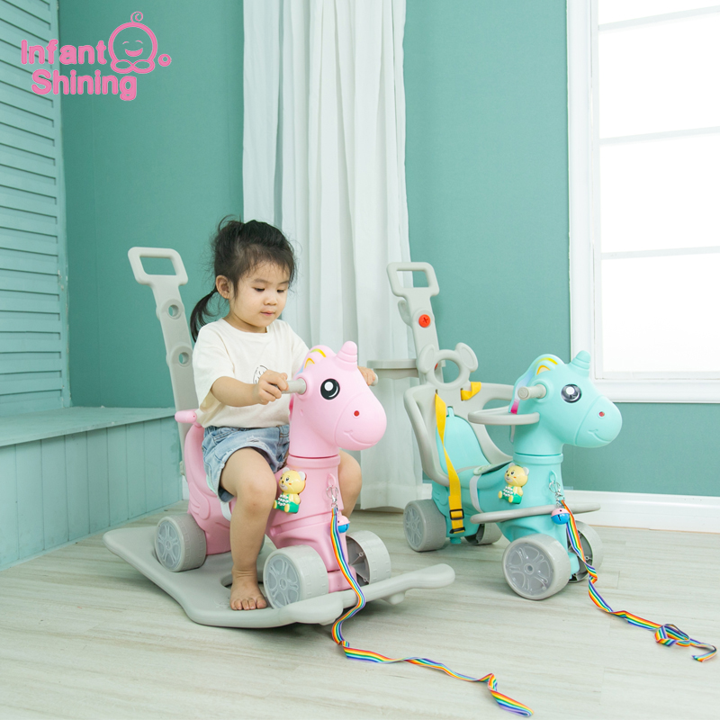 Infant Shining Baby Ride On Toys 5In1 Unicorn Rocking Horse Turntable Cart Flash Thickening Chassis Kids Indoor Toys