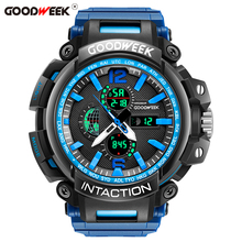 Get more info on the GOODWEEK Luxury Outdoor Sports Watch Led Digital Quartz Watch Waterproof Multifunction Dual Dispaly Wrist Watches Reloj Hombre