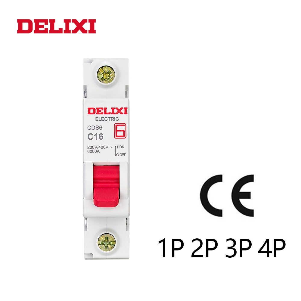 DELIXI CDB6i 1P Mini interruptor de circuito de 230/400V AC 1A 2A 3A 6A 10A 16A 20A 25A 32A 40A 50A 63A 50 HZ/60 HZ curva C MCB