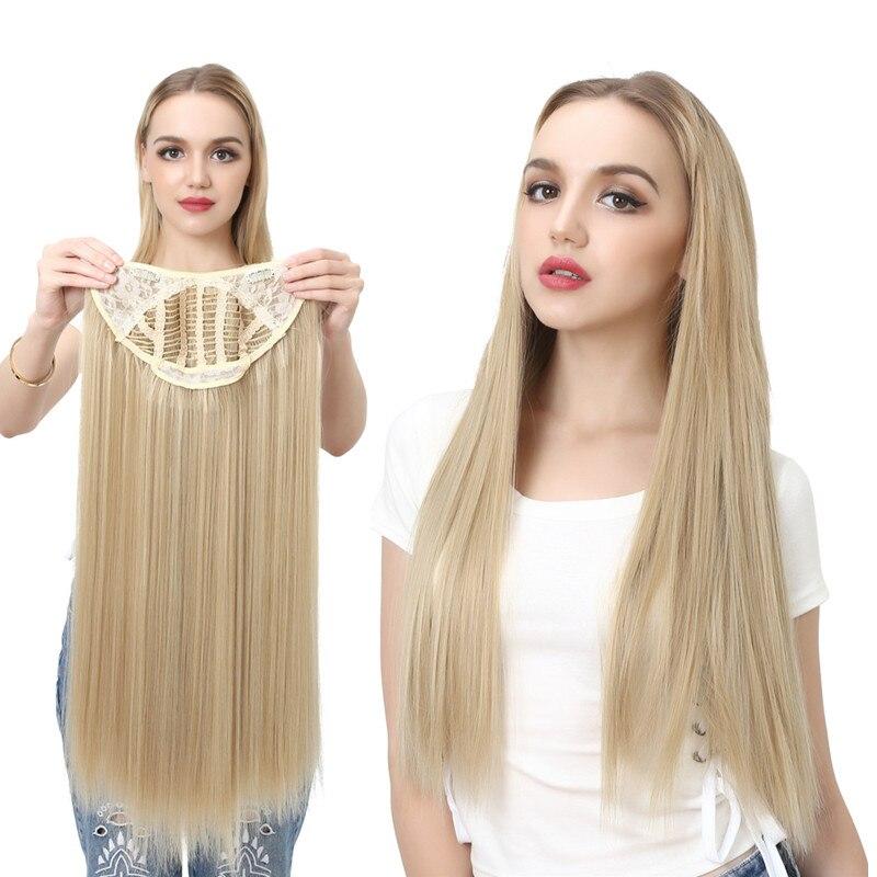 """Sarla extensão de cabelo sintético, 24 """"170g clipe em parte natural reto longo peruca sintética"""