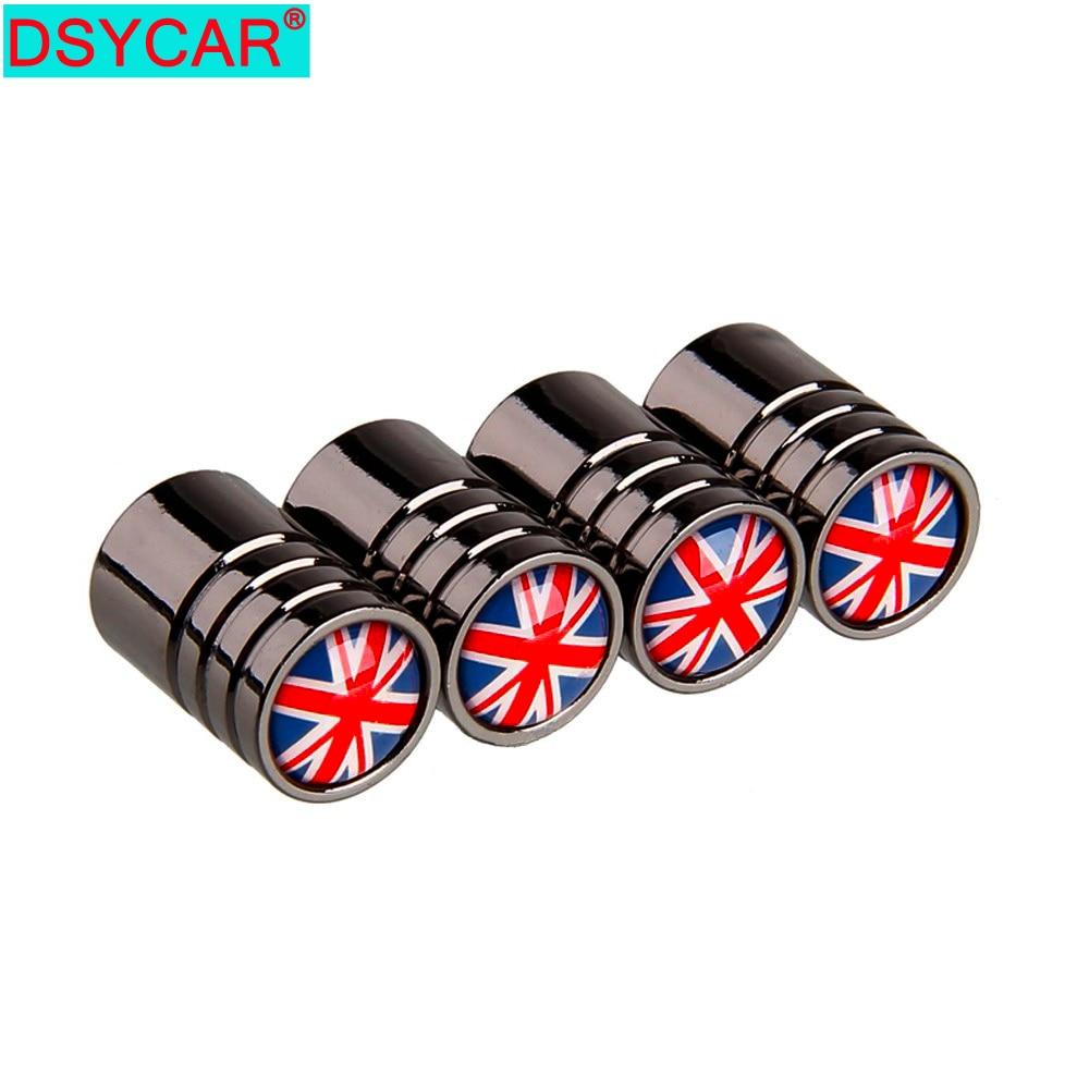 DSYCAR 4pcs/lot UK Flag Bike Moto Car Tires Wheel Valve Cap Cover Car Styling For Fiat Audi Ford Bmw Mini Jeep Honda Lada Car