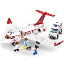 Sluban 0370 City Series Aviation Medical Ambulance Aircraft Truck Car Figures Educational Building Blocks Toy For Children Gift