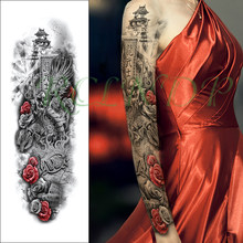 Waterproof Temporary Tattoo Sticker flower warrior dragon tower Chinese letter full arm fake tatto flash tatoo for men women(China)