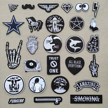 (46 Styles) 1 PCS Black and White Patches for Clothes Iron on Finger Appliques DIY Skull Stripes Embroidery Sticker Round Badges