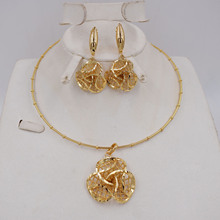 NEW DESIGN  Ltaly 750 Gold color Jewelry Set For Women african beads jewlery fashion necklace set earring jewelry