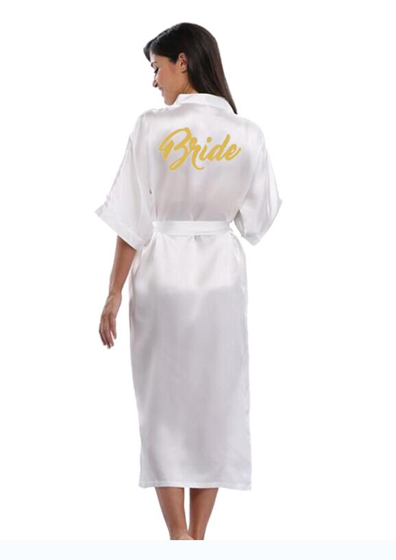 Team bride kimono gown robe bridesmaids silk satin wedding