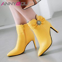 ANNYMOLI Autumn Ankle Boots Women Crystal Thin High Heel Short Boots Bow Zip Pointed Toe Shoes Female Winter White Big Size 3-12 annymoli winter ankle boots women rhinestone stiletto high heel short boots zip pointed toe shoes ladies autumn plus size 34 43