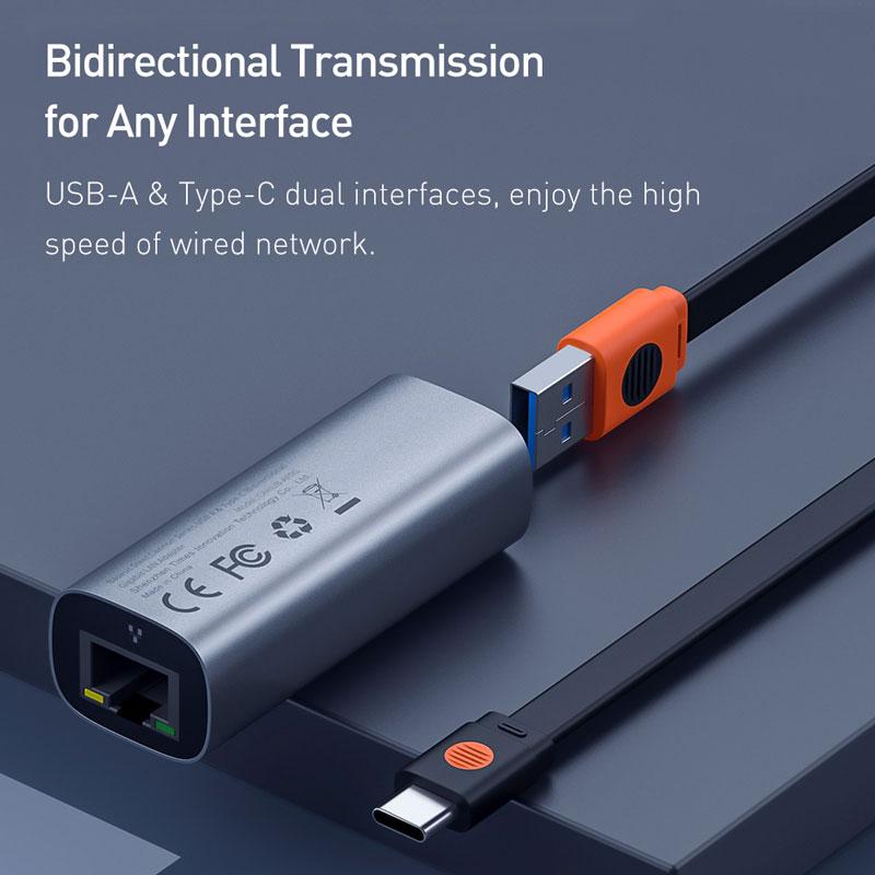 Baseus Ethernet Adapter USB Type C to RJ45 Network Card USB Converter Gigabit Lan Adapter For Notebook Macbook pro iPad Switch 2