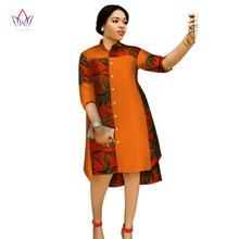 2017 Women Maxi Dress African Print Dresses for Three-Quter Sleeve Clothing Plus Size 6XL BRW WY1756