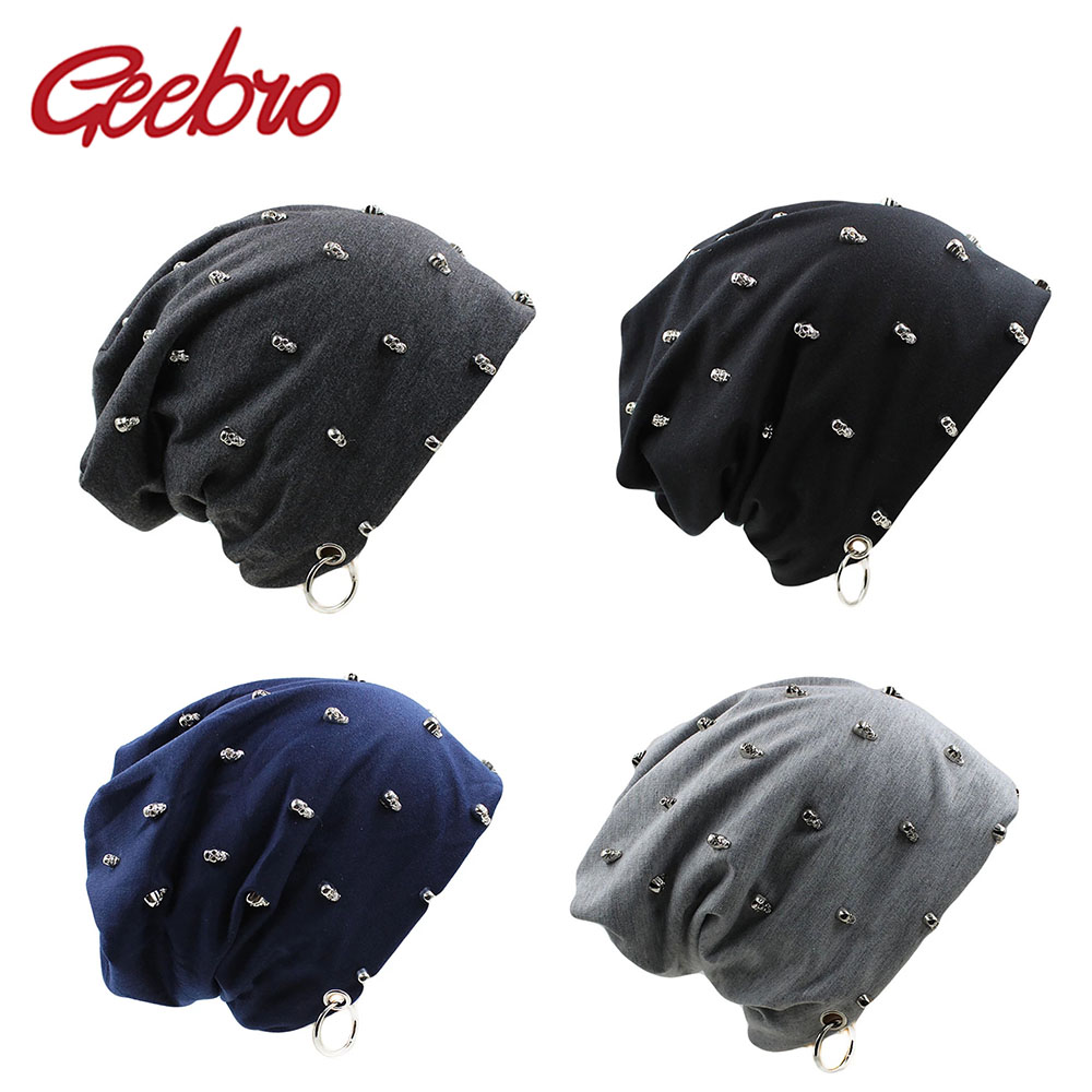 Geebro New Style Cotton Silver Skeleton Unisex Skull Cap Hip Hop Men Women Hat Cool Solid Color Beanie Hats For Winter Autumn