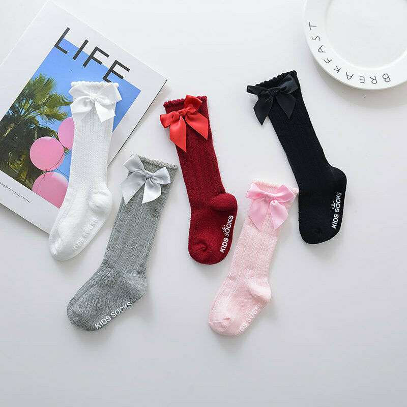 Dropshipping Kids Toddlers Girls Big Bow Knee High Long Soft Cotton Lace Baby Socks 0-4Y