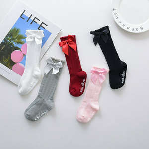 Baby Socks Toddlers Soft Girls Knee-High Kids Cotton Lace Bow Big Long 0-4Y