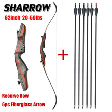 цена на 1set Hunting 62inch 20-50lbs Recurve Bow With Fiberglass Arrow Set Wood Longbow Shooting Archery Bow And Arrow Accessories
