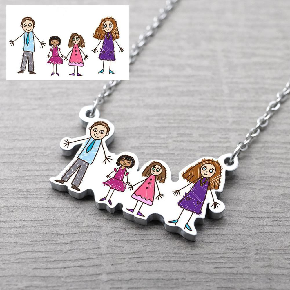 Children Drawing Necklace Gift For Mom Kid's  Artwork Necklaces Personalized Drawing Necklace