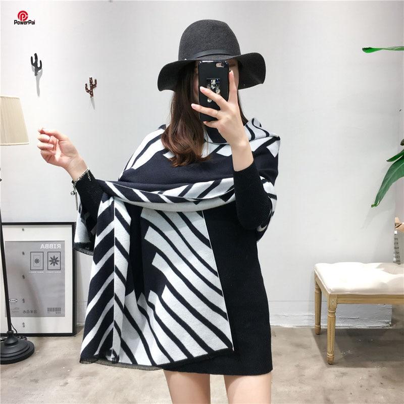 Fashion Classic Black White Stripes Cashmere Scarf Shawl Women Warm Long Neckerchief Pashmina Autumn Winter Muffler 350g