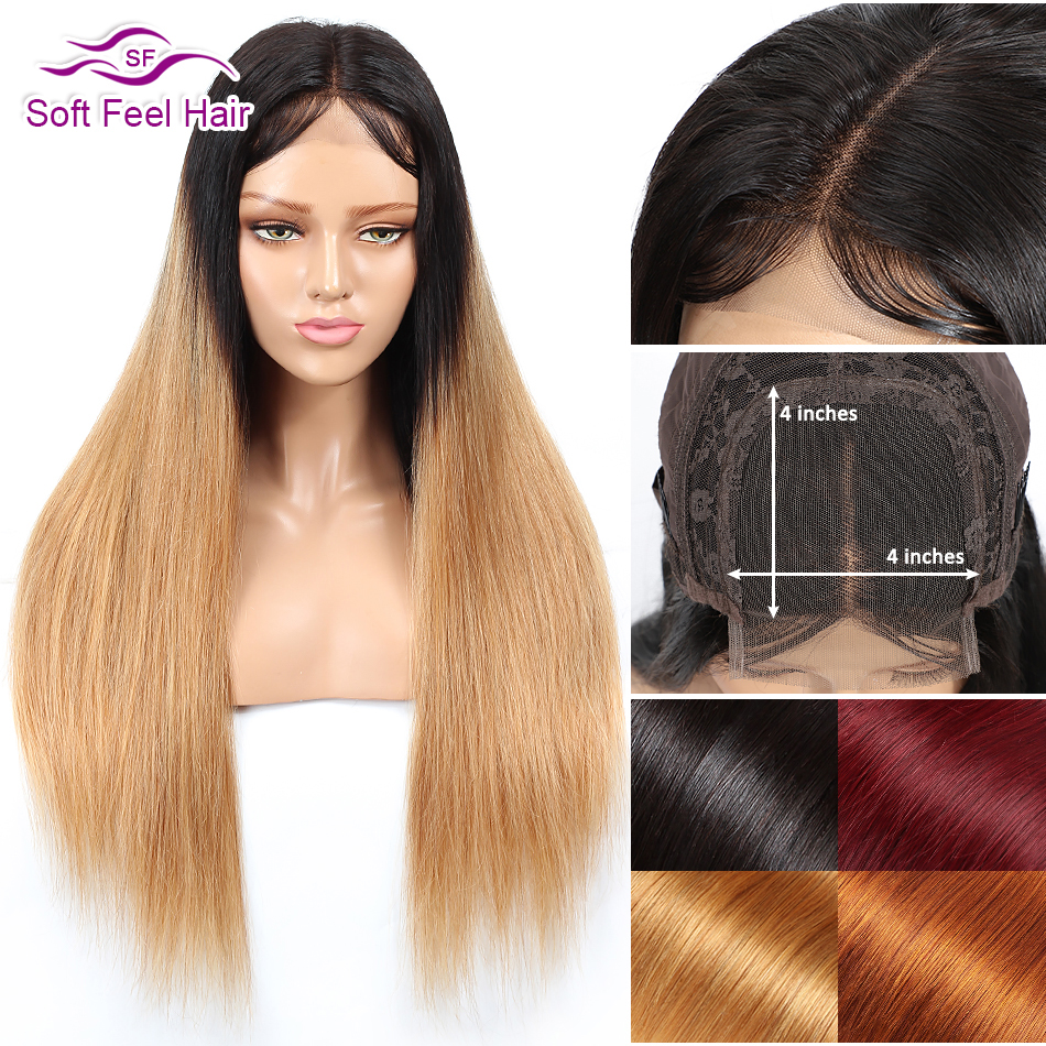 Soft Feel Hair 4x4 Ombre Brazilian Straight Lace Closure Wig Blonde Remy Burgundy Lace Closure Human Hair Wigs For Black Women