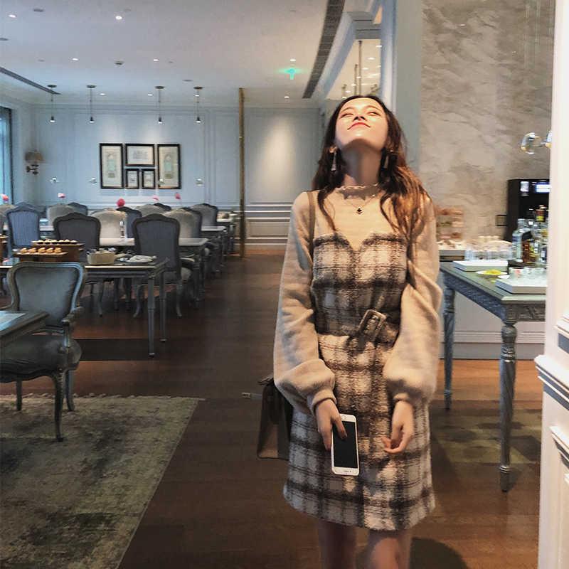MISHOW jesienno-zimowa sukienka vintage dla kobiet 2019 slim fit z paskiem plaid latarnia rękaw temperament pani krótka sukienka MX18D1495