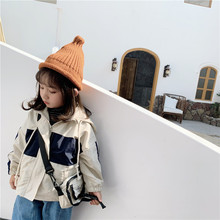 Ins Autumn Boys Girls Windbreaker Letter Print Jacket With Bags Hooded Kids Jackets And Coats Korean Children Fashion Outerwear