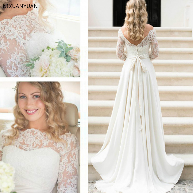 Elegant A-line Princess Wedding Dresses Scalloped Neck Long Sleeve Sweep Train Wedding Dress With Lace Sashes Robe De Mariee