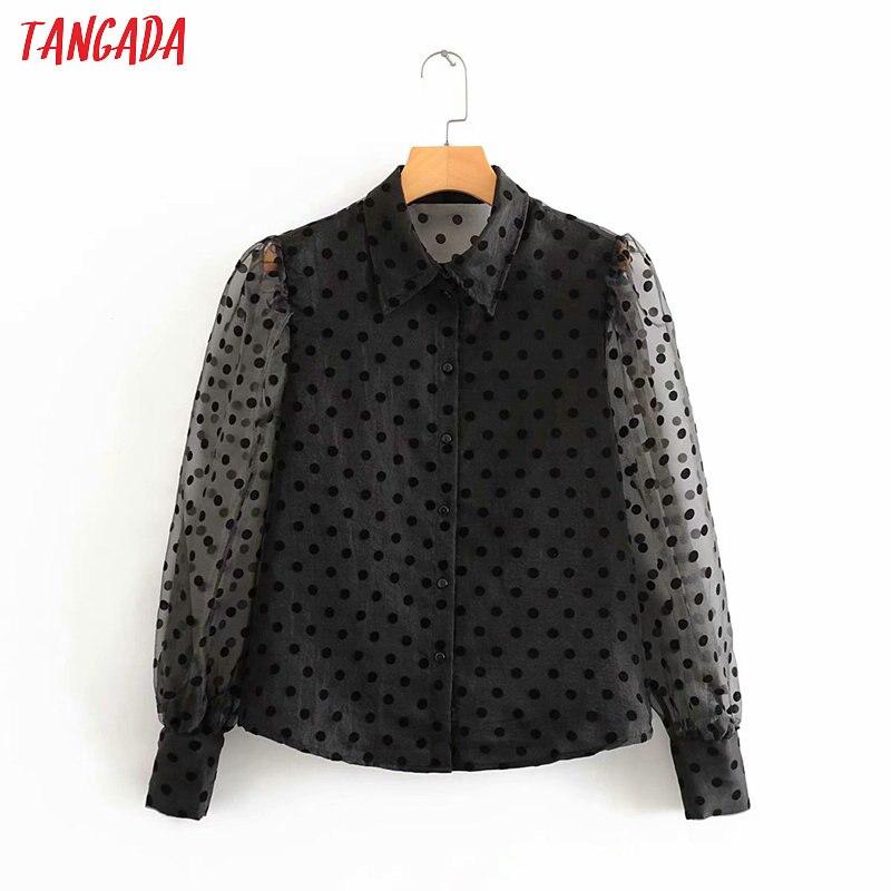 Tangada Women Dots Print Mesh Black Blouse 2020 Fashion Mesh Patchwork Transparent Long Sleeve Shirts Female Chic Tops 3A37