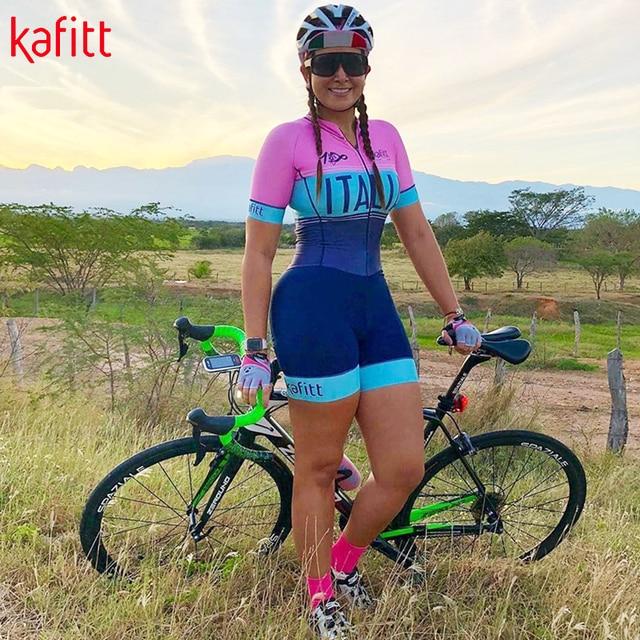 Kafitt pro camisa de ciclismo de manga curta das mulheres terno da bicicleta de estrada roupas esportivas macacão de corrida uniforme bib shorts ciclismo 1