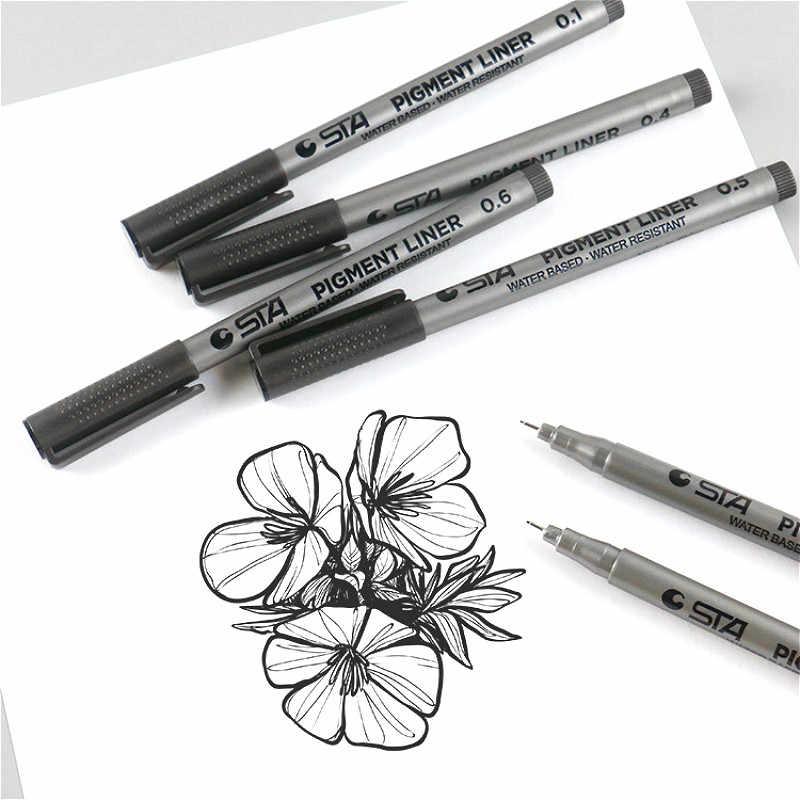 1-Piece Pigment Liner Pigma mikron mürekkep işaretleyici kalem 0.05 0.1 0.2 0.3 0.4 0.5 0.6 0.8 farklı ucu siyah fineliner çizim kalemler