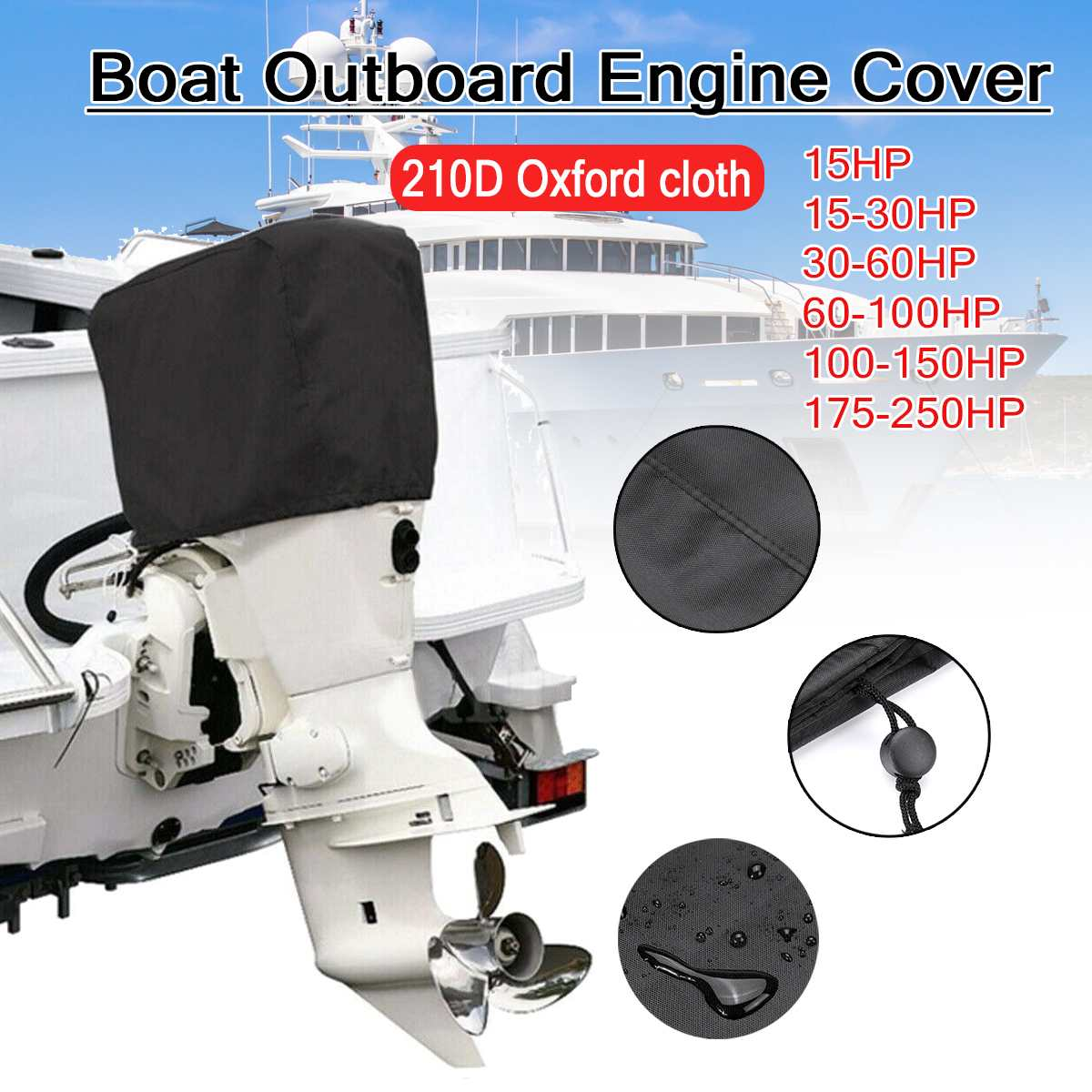 210D Oxford 15-250HP Boat Motor Cover Outboard Engine Protector Covers Waterproof 15 30 60 100 150 170 250 PH Motor Heavy-Duty