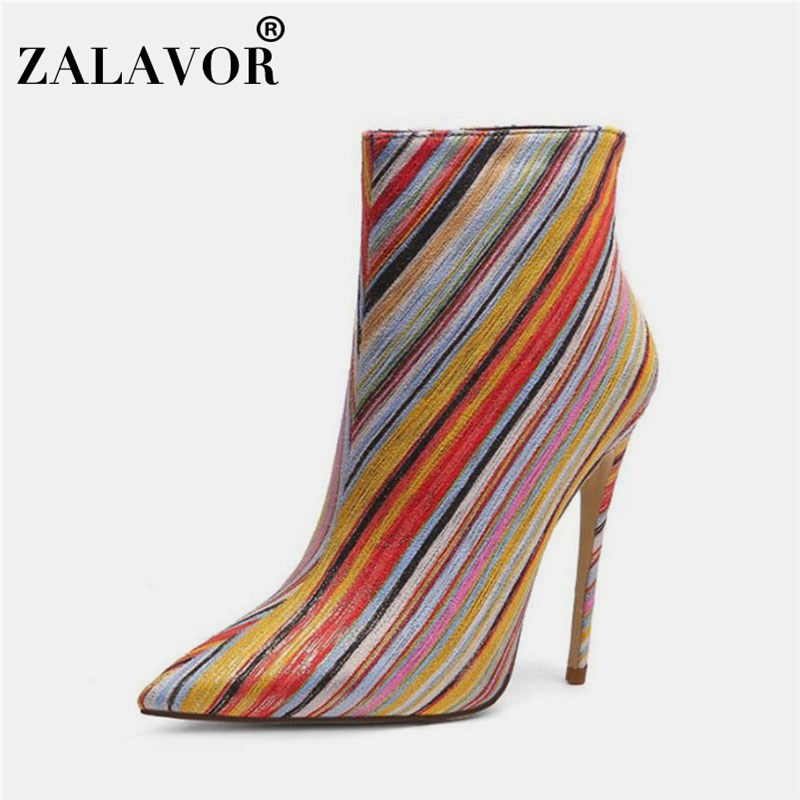 ZALAVOR Plus Size 32-45 Ladies Colorful Winter Ankle Boots High Stiletto Boots Pointed Toe Side Zipper Footwear