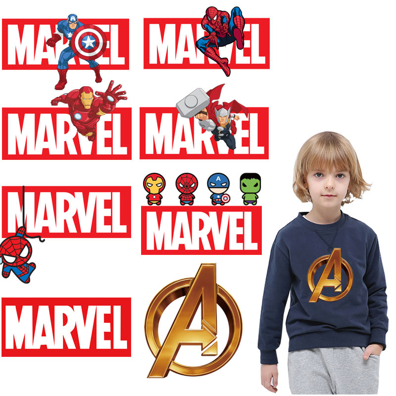 Superman Spiderman <font><b>ironman</b></font> <font><b>patches</b></font> for clothing cartoon marvel thermal stickers iron on transfer for boy T-shirt diy <font><b>patch</b></font> decro image