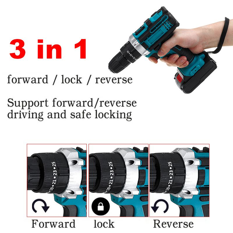 Tools : 48V Cordless Drill Electric Screwdriver Drill 25 3 Torque With 2Pcs Lithium-Ion Battery Electric Hammer Impact Drill Power Tool