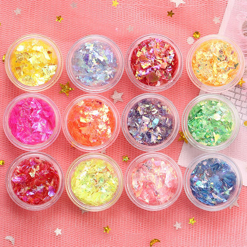 Переливающаяся конфетная оболочка из бумаги майларовые хлопья для ногтей блестящие наклейки для украшения ногтей красочные блестки для