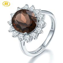 Hutang 11X9mm Smoky Quartz Engagement Ring Natural Gemstone Solid 925 Sterling Silver Fine Fashion Stone Jewelry For Women's Gi hutang new style natural aquamarine promise ring solid 925 sterling silver gemstone ring fine jewelry wedding women s rings gift