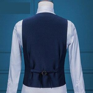 Image 3 - Costume daffaires formel pour hommes, veste + gilet + pantalon, 3 pièces, bleu marine, Tuxedos, châle pour marié, collection 2020