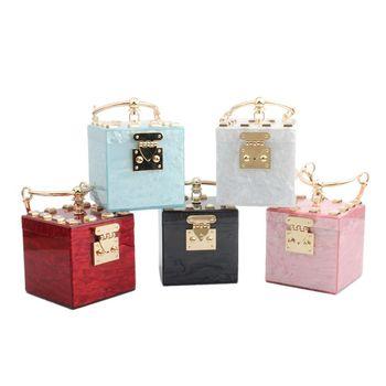 Square Shape Women Acrylic Clutch Evening Bag Metal Wristlets Wedding Party Prom Mini Handbag Purse C90E