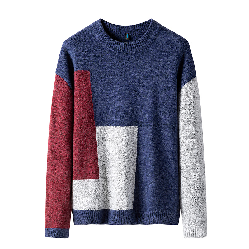 Sweater Male 2019 Casual Patchwork Men's Pullover Casual Slim Fit Autumn Winter Sweater Men's Knitted Sweater Christmas Clothes